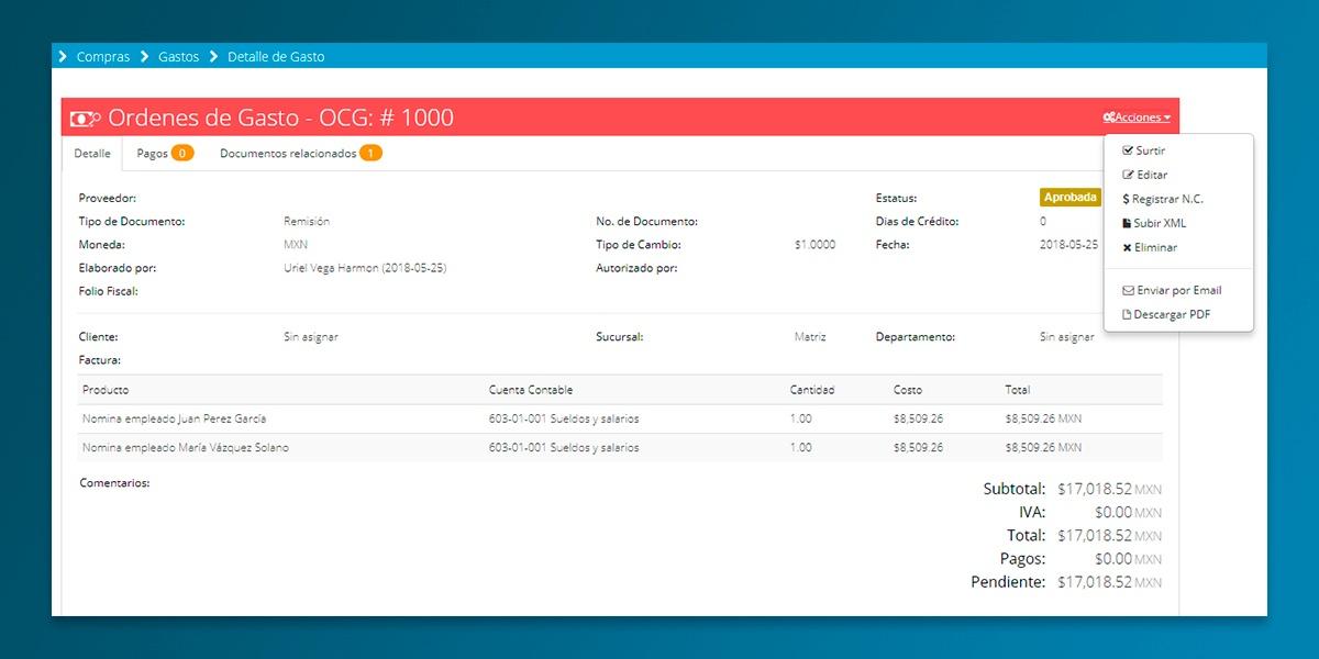 Ordenes de gasto generadas desde la pantalla de nominas del Modulo de Nominas de Bind ERP