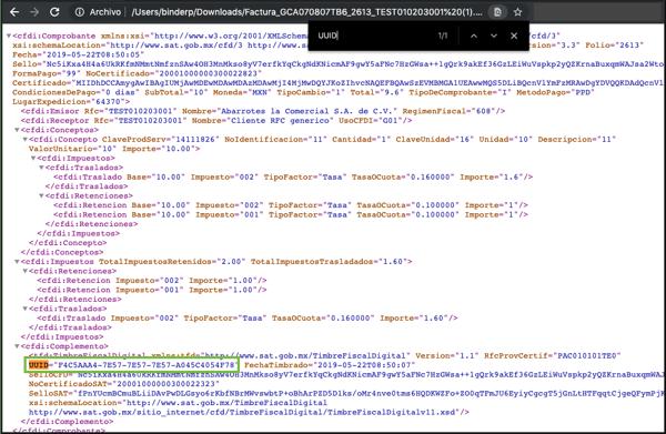 Ejemplo de dónde encontrar el folio fiscal en el archivo XML de una factura digital