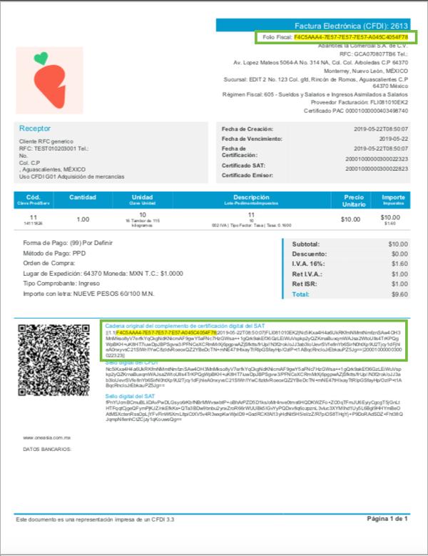 Ejemplo de dónde encontrar el folio fiscal en el archivo PDF de una factura digital