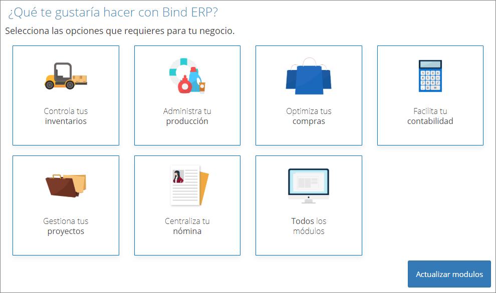 Visualización de módulos personalizada en Bind ERP